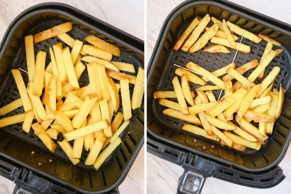 A collage featuring two side by side photos showing a before and after of cooking homemade garlic fries in an air fryer before layering with greek toppings and feta cheese
