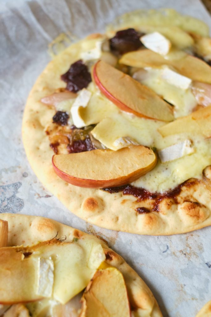 baked apple brie pizza straight from the oven