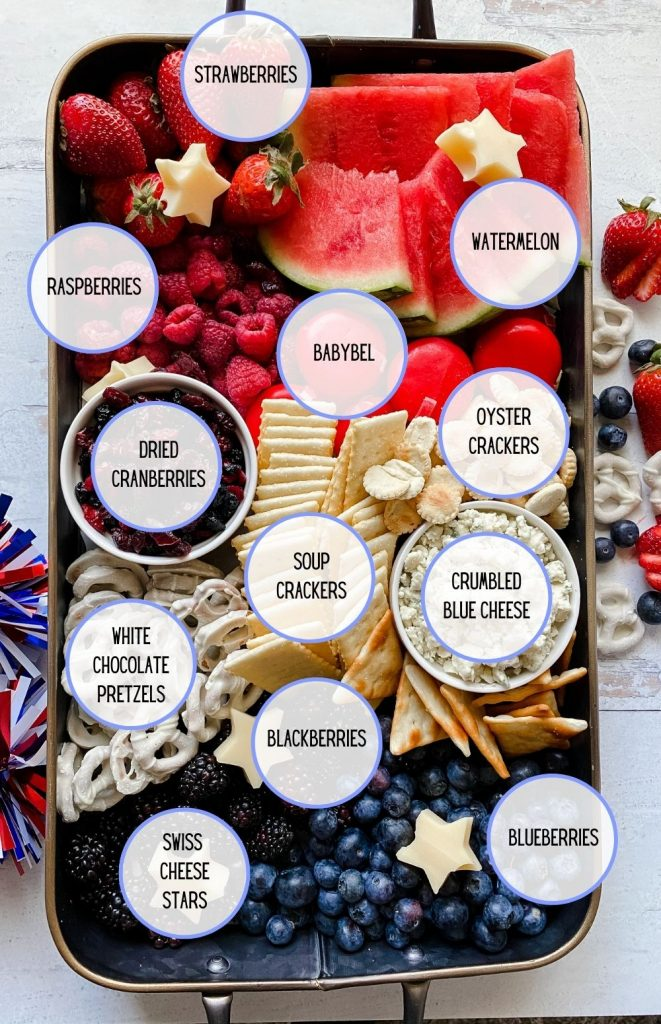 A pinnable image showing a patriotic red white and blue 4th of july charcuterie board with text bubbles over top labelling each ingredient
